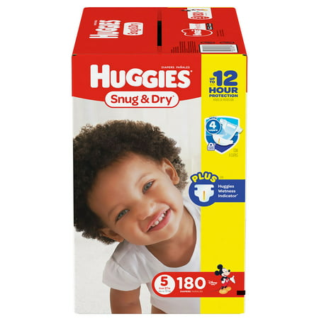 HUGGIES Snug & Dry Diapers, Size 5, for 27 - 35 lbs., One Month Supply (180 Count) of Baby Diapers (Diaper Drawing)