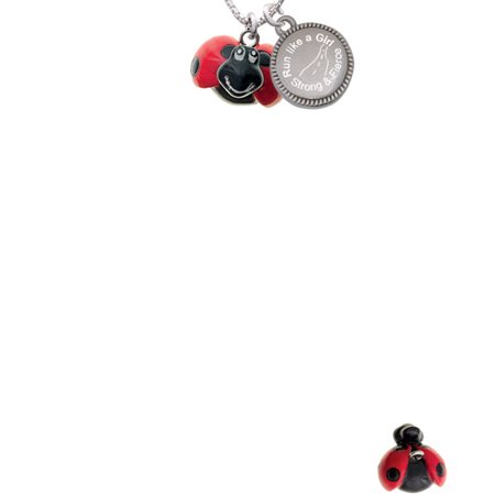 Bug Necklace (Resin Red & Black Ladybug Sweetie Run Like a Girl - Strong and Fierce Engraved)