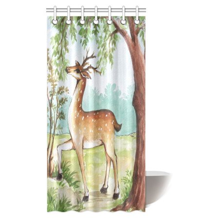 MYPOP Watercolor Painting Decor Shower Curtain, Whitetail Antlers in Tropical Trees Forest Fabric Bathroom Shower Curtain Set with Hooks, 36 X 72 Inches Whitetail Shower Curtain Hooks