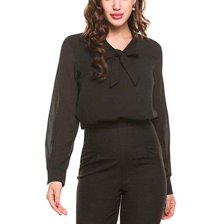 c75f75b4ed866f Issac Live - Womens Bow Tie Neck Long/Short Sleeve Casual Office Work  Chiffon Blouse Shirts Tops - Walmart.com