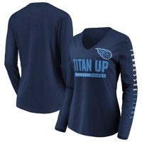 Tennessee Titans NFL Pro Line by Fanatics Branded Women's Team Slogan Long Sleeve V-Neck T-Shirt - Navy