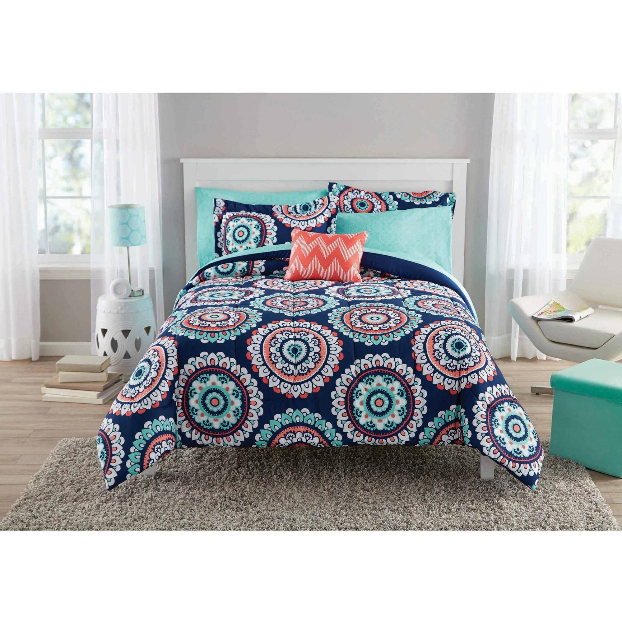Mainstays Navy Medallion Bed in a Bag Queen