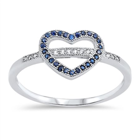 - Heart Blue Simulated Sapphire Promise Ring ( Sizes 4 5 6 7 8 9 10 ) .925 Sterling Silver Love Band Rings by Sac Silver (Size 8)