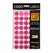 Sunburst Systems 7035 Priced Garage Sale Stickers, 1,000 Count Pre-Printed Labels, Pink