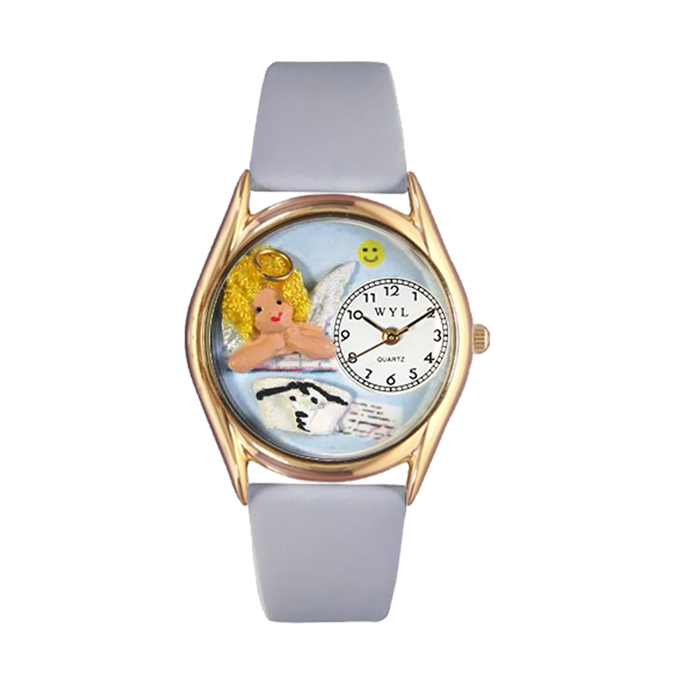 Whimsical Watches Women's Nurse Angel Baby Blue Leather and Gold Tone Watch