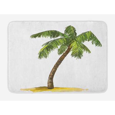 Palm Tree Bath Mat, Cartoon Palm Tree Image Tropical Plant and Sand Serenity Nature Foliage Print, Non-Slip Plush Mat Bathroom Kitchen Laundry Room Decor, 29.5 X 17.5 Inches, Green Brown, Ambesonne