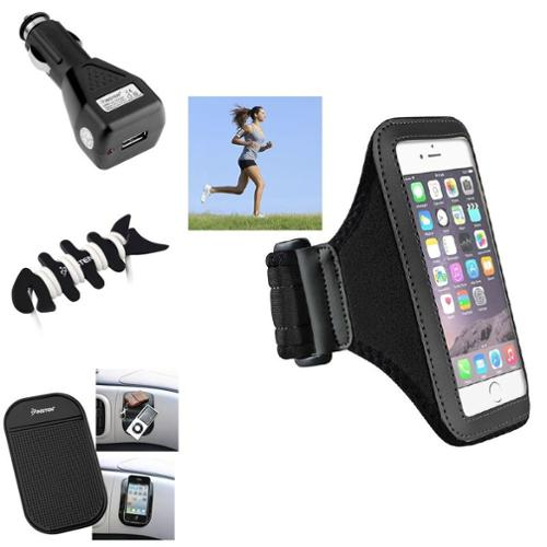 Insten Black Armband Sportband Case Mat BLK Car Charger Wrap For Apple iPhone 6S 6 4.7""