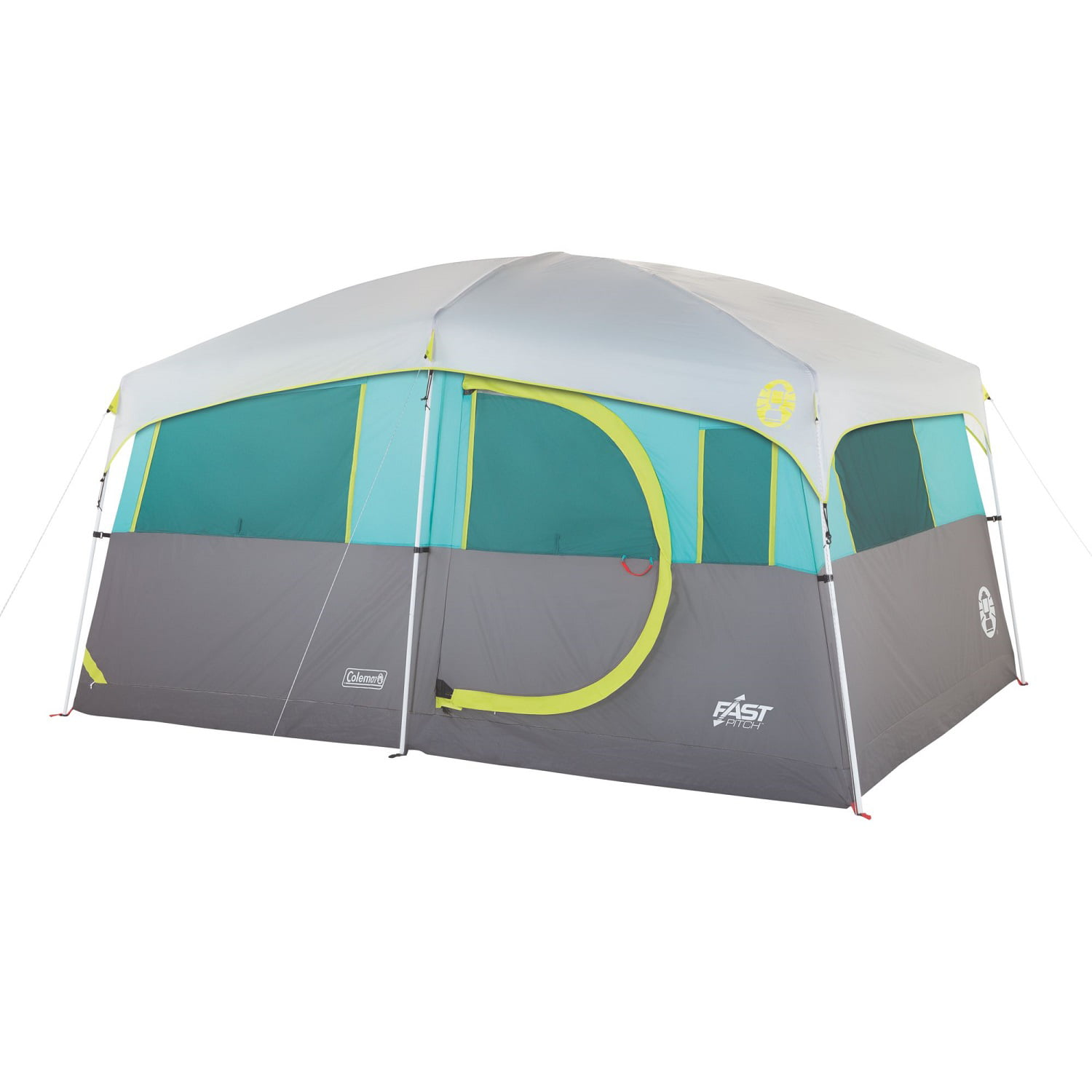 Click here to buy Coleman Tenaya Lake Lighted 8 Person Cabin Tent Teal Gray by COLEMAN.