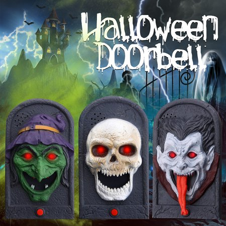 Vintage Halloween Doorbell Sound Trick Toy, Animated Doorbell with Scary Sound and Light Up Battery Powered Scary Decorations for Door, Doorbell Sound Trick Toy](Halloween Doorbell Sound Effect)