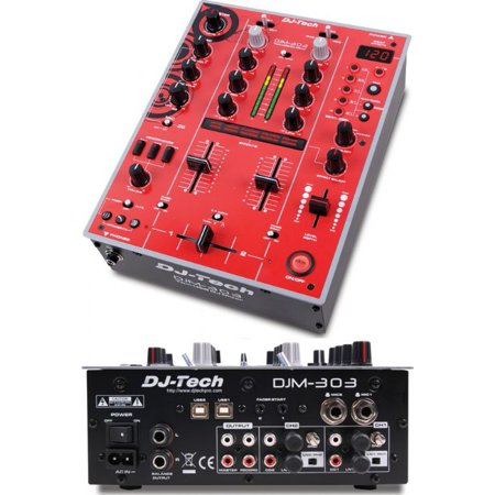 Dj Tech Djm303rededition Professional 2 Channel Dj Mixer W  Integrated Usb Soundcard   9 Dsp Effects  Red