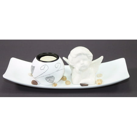 Pure White Angel Tabletop Sand Candle Stand Holder Peace / Cupid Home Decor