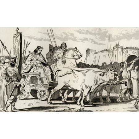 Clovis Iii 682 To 695 In A Chariot Pulled By Oxen With Pepin Ii Of Herstal C714 Riding Alongside Him From Histoire De France By Colart Published Circa 1840 Canvas Art - Ken Welsh Design Pics (36 x 22