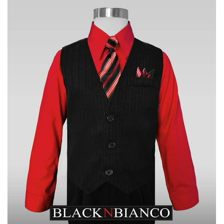 Boys Vest Suit Pinstripe Red Shirt Outfit