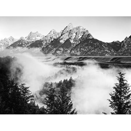 USA, Wyoming, Grand Teton National Park. Mountain Sunrise Scenic Landscape Black and White Photography Print Wall Art By Dennis Flaherty Black And White Photography Landscapes