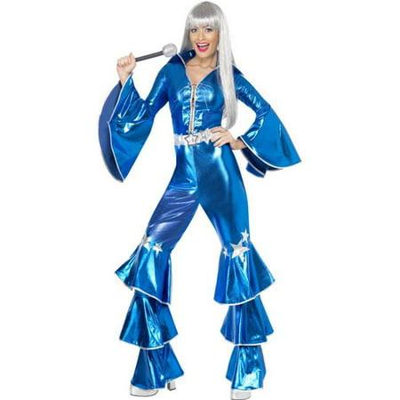 8291b818de2f Smiffys Sexy Retro 70s Disco Blue Jumpsuit Adult Halloween Costume -  Walmart.com