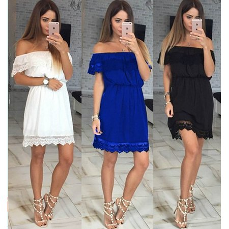 Mupoo Sexy Solid Color Skirt Short Sleeve Off Shoulder Evening Party Beach Dress