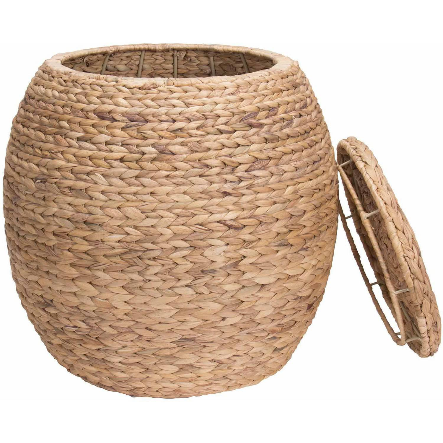 Household Essentials Large Round Water Hyacinth Wicker Storage Basket with  Lid - Walmart.com