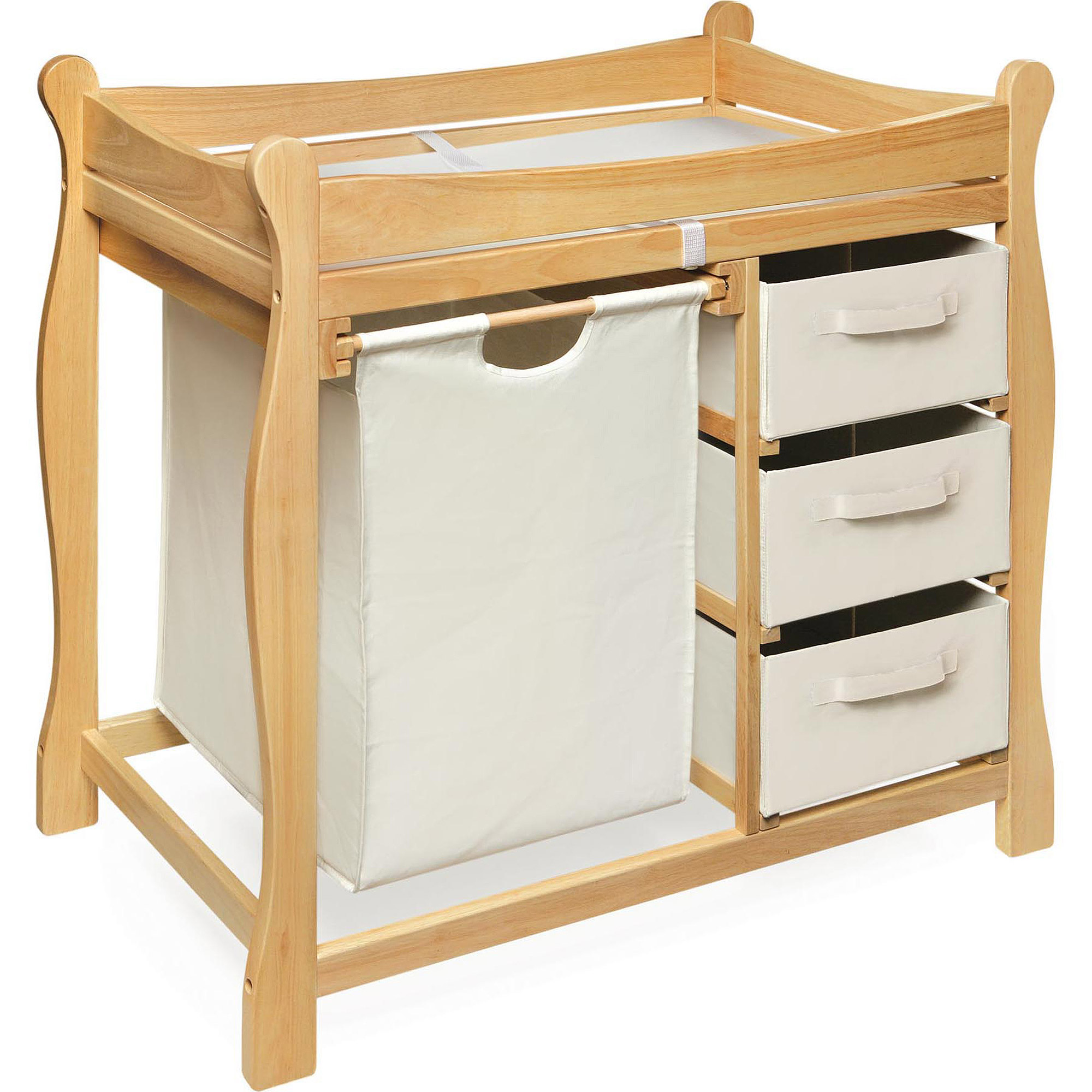 Badger Basket Sleigh Style Changing Table with Hamper and 3 Baskets