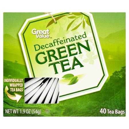 Great Value décaféiné Sacs Thé vert de thé, 40ct