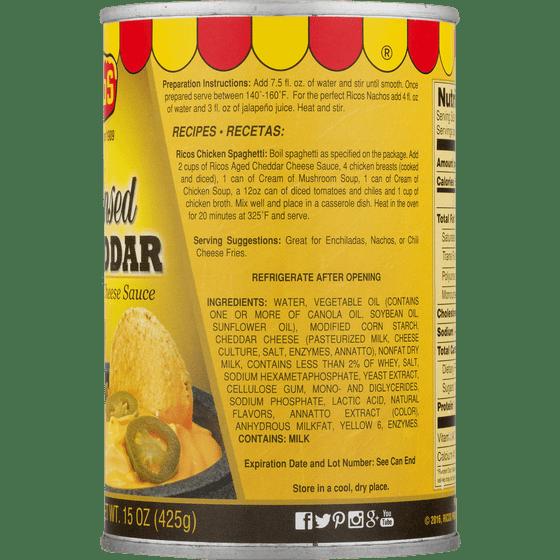 2 Pack) Rico's: Cheddar Cheese Sauce, 15 oz - Walmart com