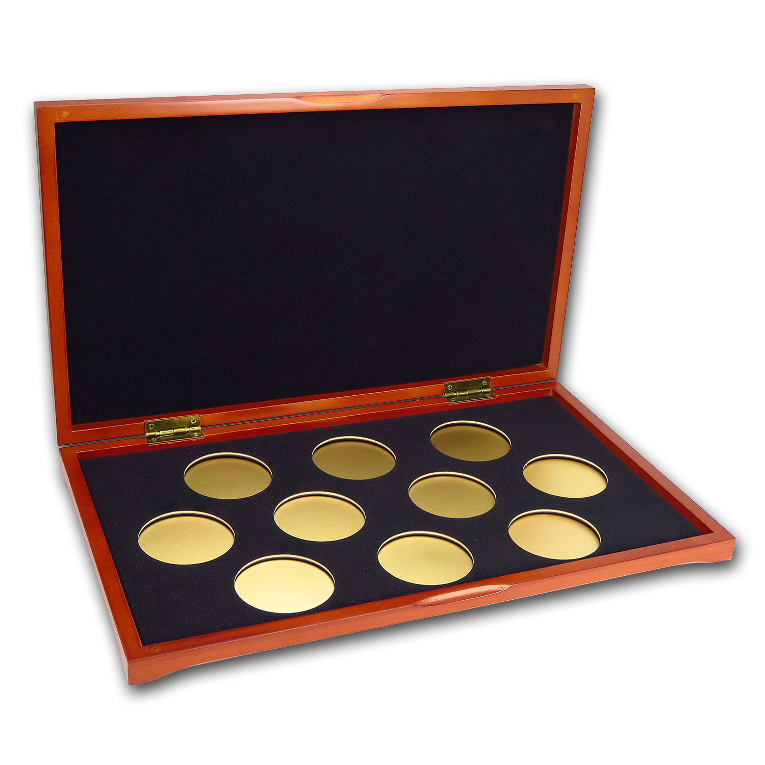 10 coin Wood Presentation Box (Silver) X6D Style Holders by