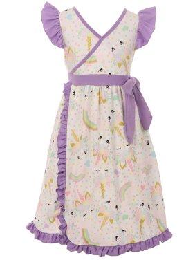 Toddler Girls Lovely Unicorn Rainbow Wrap Ruffle Birthday Party Flower Girl Dress Off White 2T XS (P201421P)