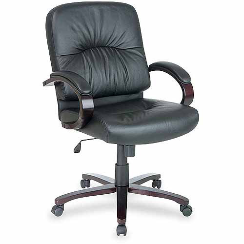 Lorell Woodbridge Series Managerial Mid-Back Chair, Black