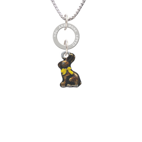 3-D Chocolate Bunny - You Are More Loved Eternity Ring Necklace