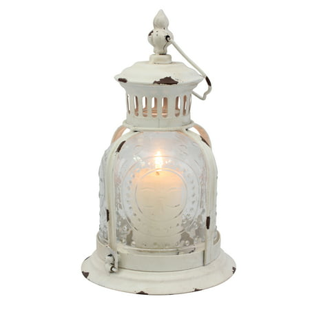 Country Rustic Worn White Metal Candle - Country Lantern