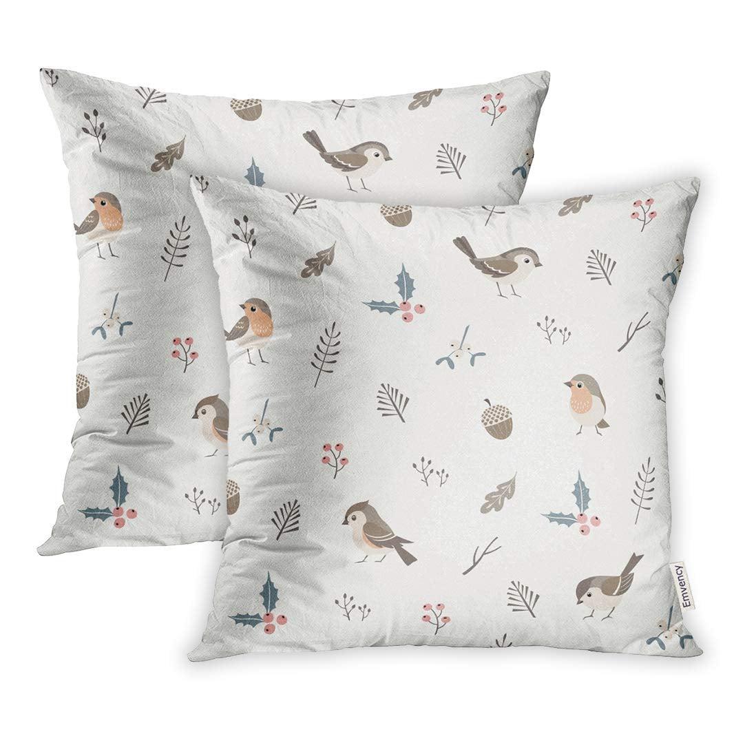 Arhome Pattern Christmas Flora Cute Little Birds Winter Acorn Pillow Case Pillow Cover 20x20 Inch Set Of 2 Walmart Com Walmart Com