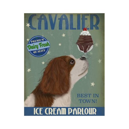 Charles White Art Prints - Cavalier King Charles, Brown White, Ice Cream Print Wall Art By Fab Funky