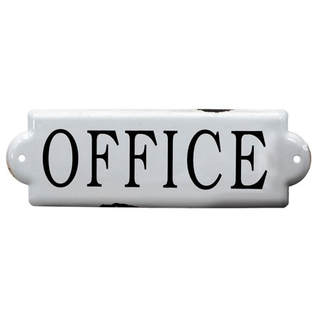 (White Enameled Office Sign Metal 10 Inches)