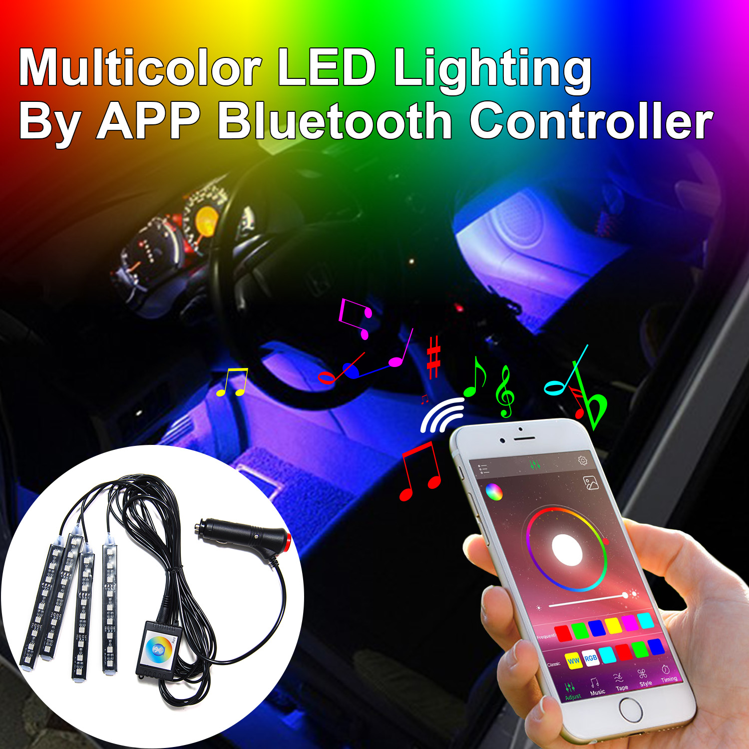Addmotor Lights Car Atmosphere LED RGB Light Strips Interior Kit Phone App  Bluetooth Music Control Multicolor