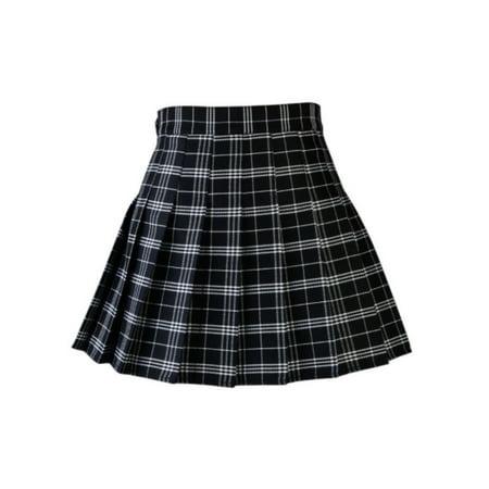 Women Pleated Mini Plaid Skirt
