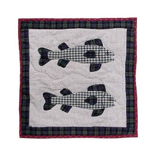 Cabin Bear Fish Toss Pillow