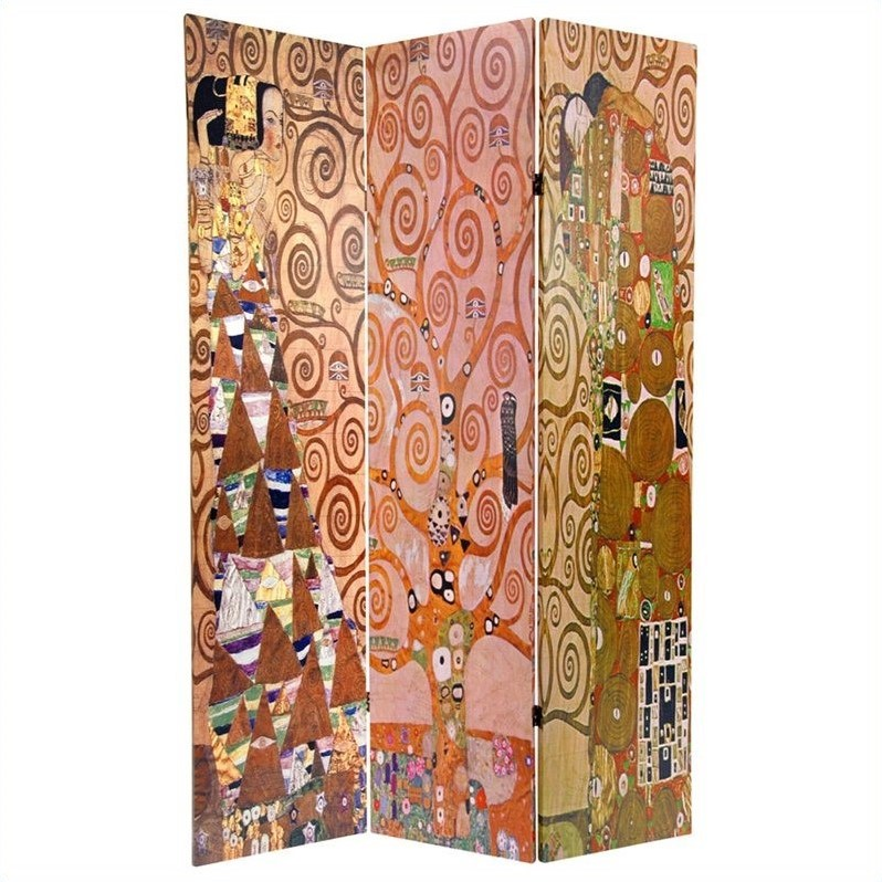 Oriental Furniture 6' Tall Stoclet Frieze Room Divider in Multicolor