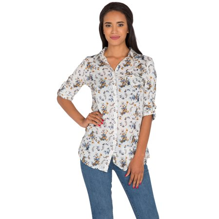 S&P Junior Women's White Poplin Paisley Floral Printed Button Down Collared Long sleeve (Paisley Button Down Shirt)