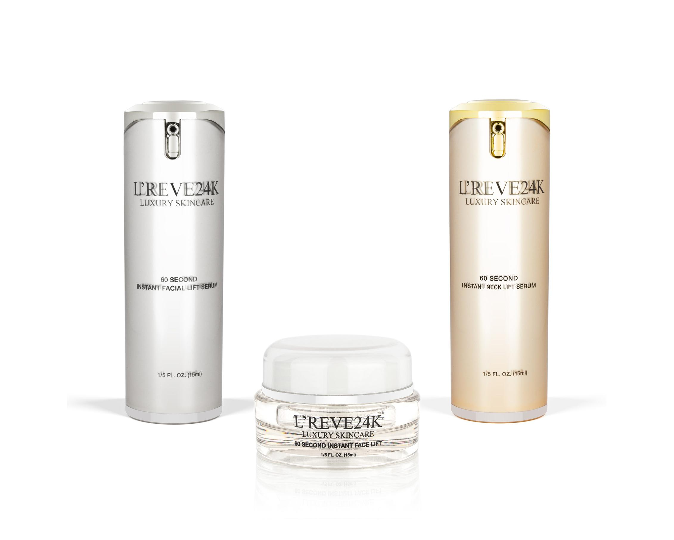 Lreve 60 Second Lift Set- 60 Second Instant Lifting Serum, Neck Lift Serum, & Cream 5 Pack EOS Visibly Soft Lip Balm Sphere Vanilla Mint 0.25oz Each