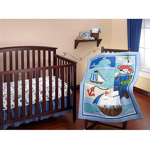 Little Bedding by NoJo - Baby Buccaneer 3pc Crib Bedding Set - Value Bundle