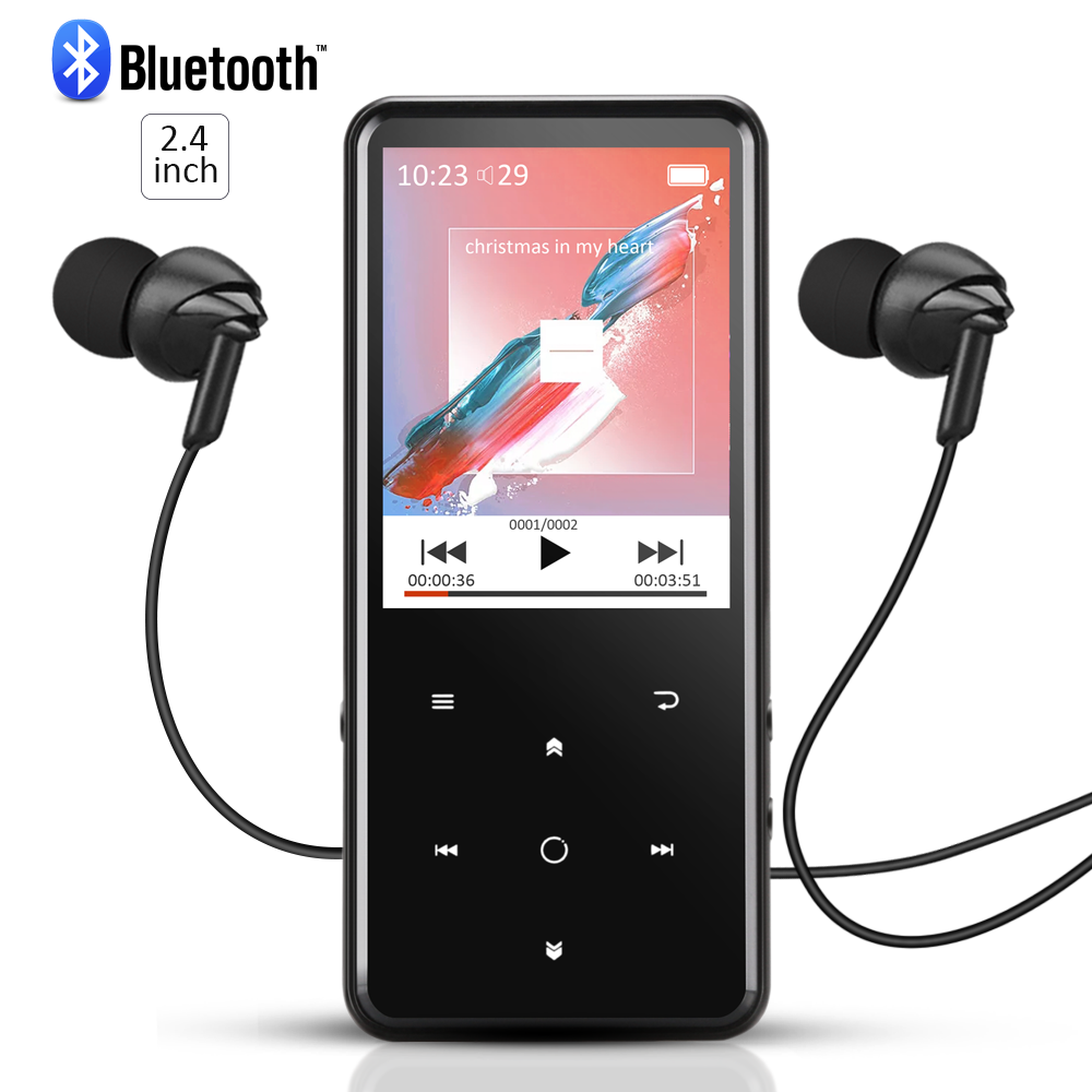 AGPTEK 8GB Bluetooth 4.0 MP3 Player with 2.4 Inch TFT Color Screen, FM/ Voice Recorder Music Player, C2 Black.