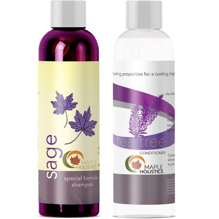 Sulfate Free Shampoo And Tea tree Oil Conditioner Set - Anti Dandruff Natural Sage Shampoo For Colored Hair 100% Pure For Healthy Hair Growth - Nourishing Natural Hair Care For Men &