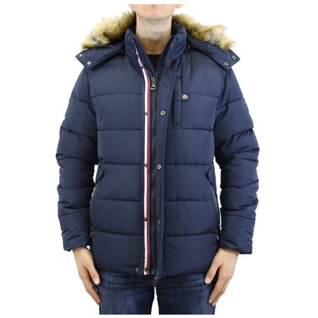 Mens Heavyweight Hooded Parka Jacket With Stripe -