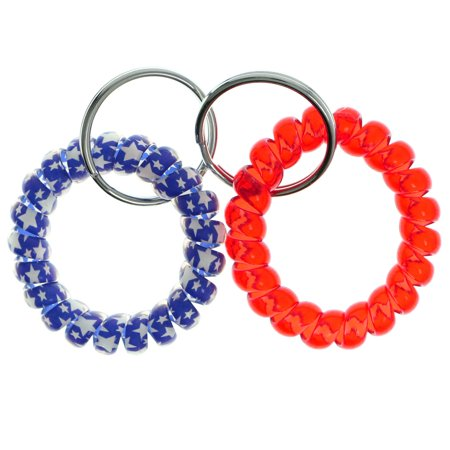 - Two Piece Coil Bracelet Keychain Set Red & Blue with Stars