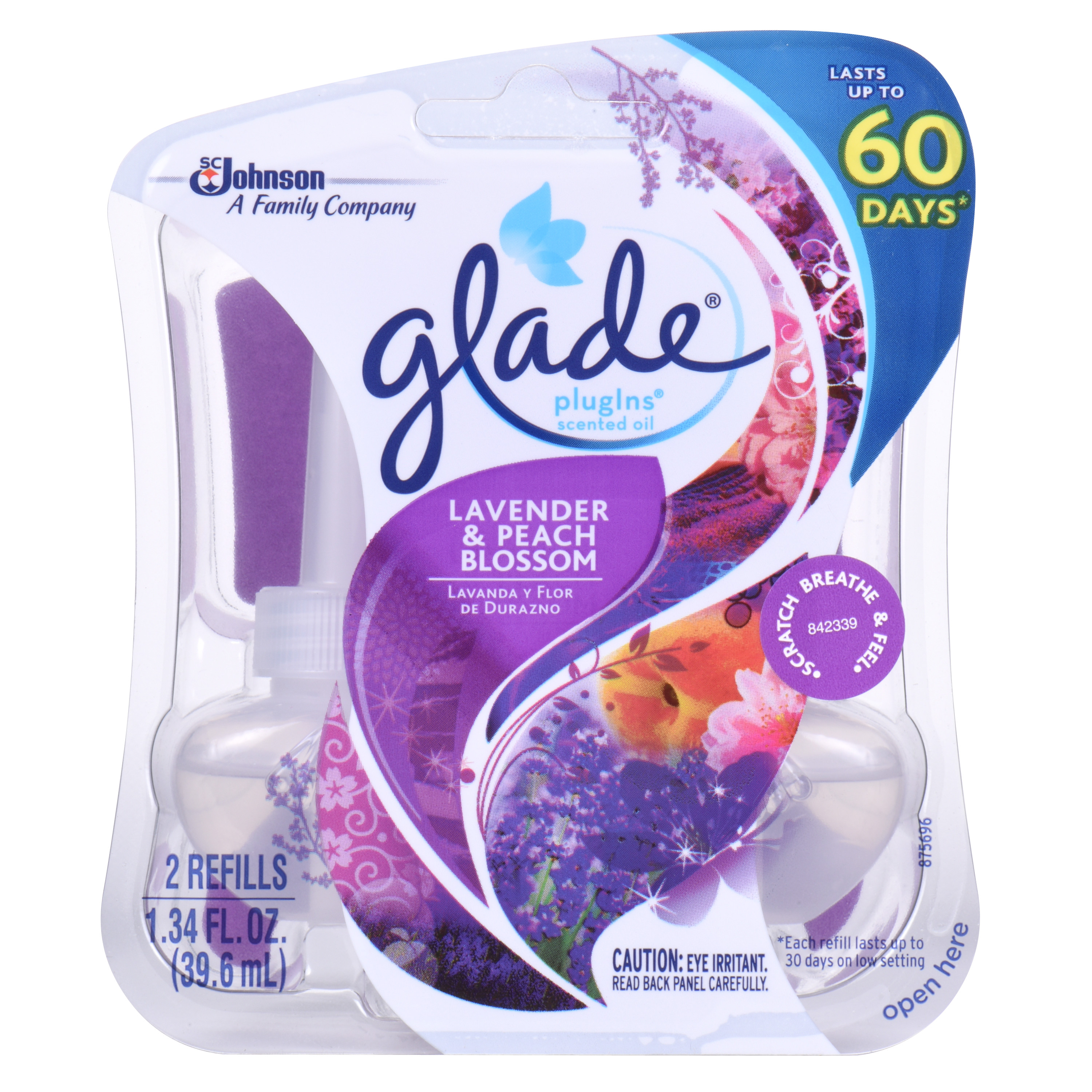 Glade PlugIns Scented Oil Air Freshener Refill, Lavender & Peach Blossom, 2 count, 1.34 Ounces