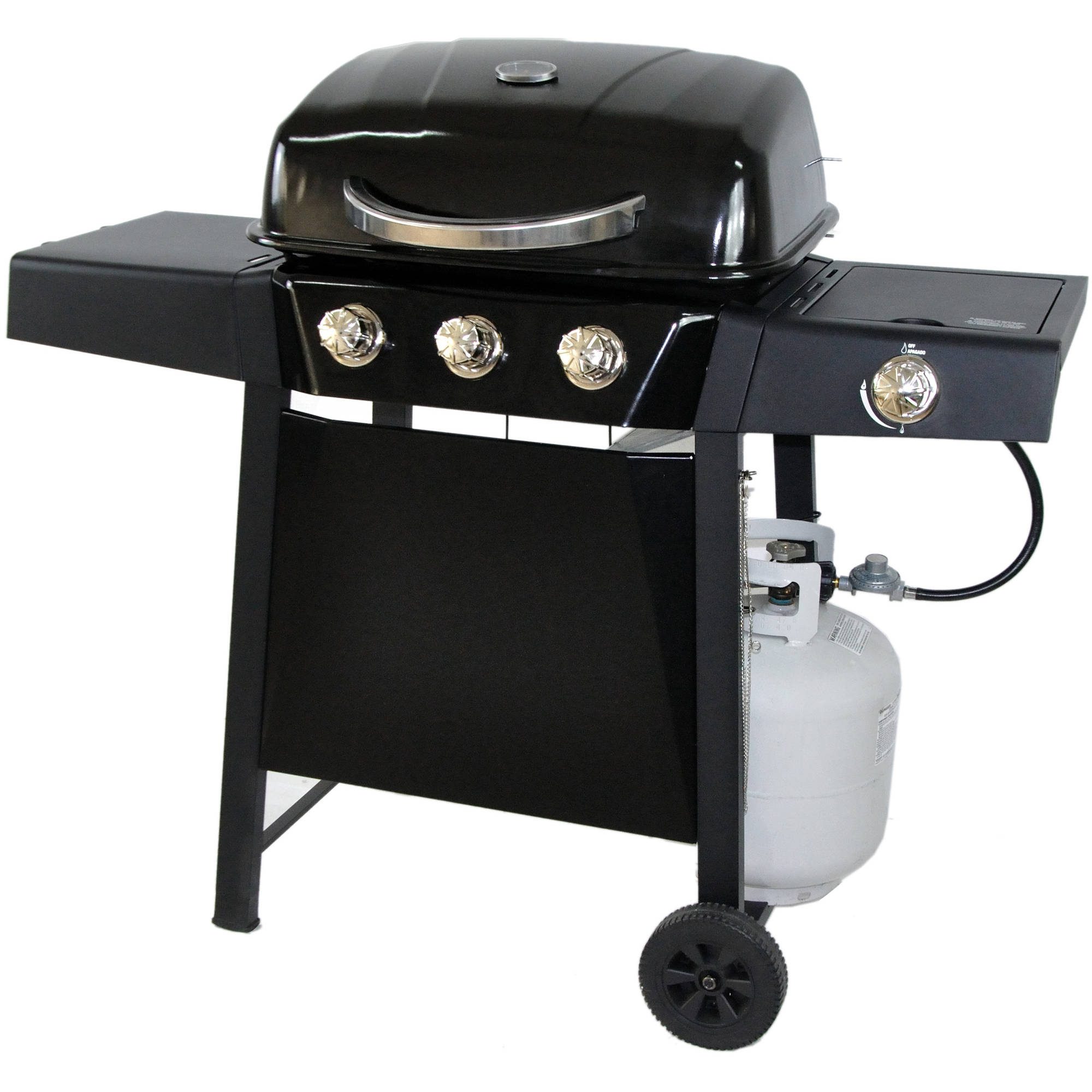 RevoAce 3-Burner LP Gas Grill with Side Burner, Black