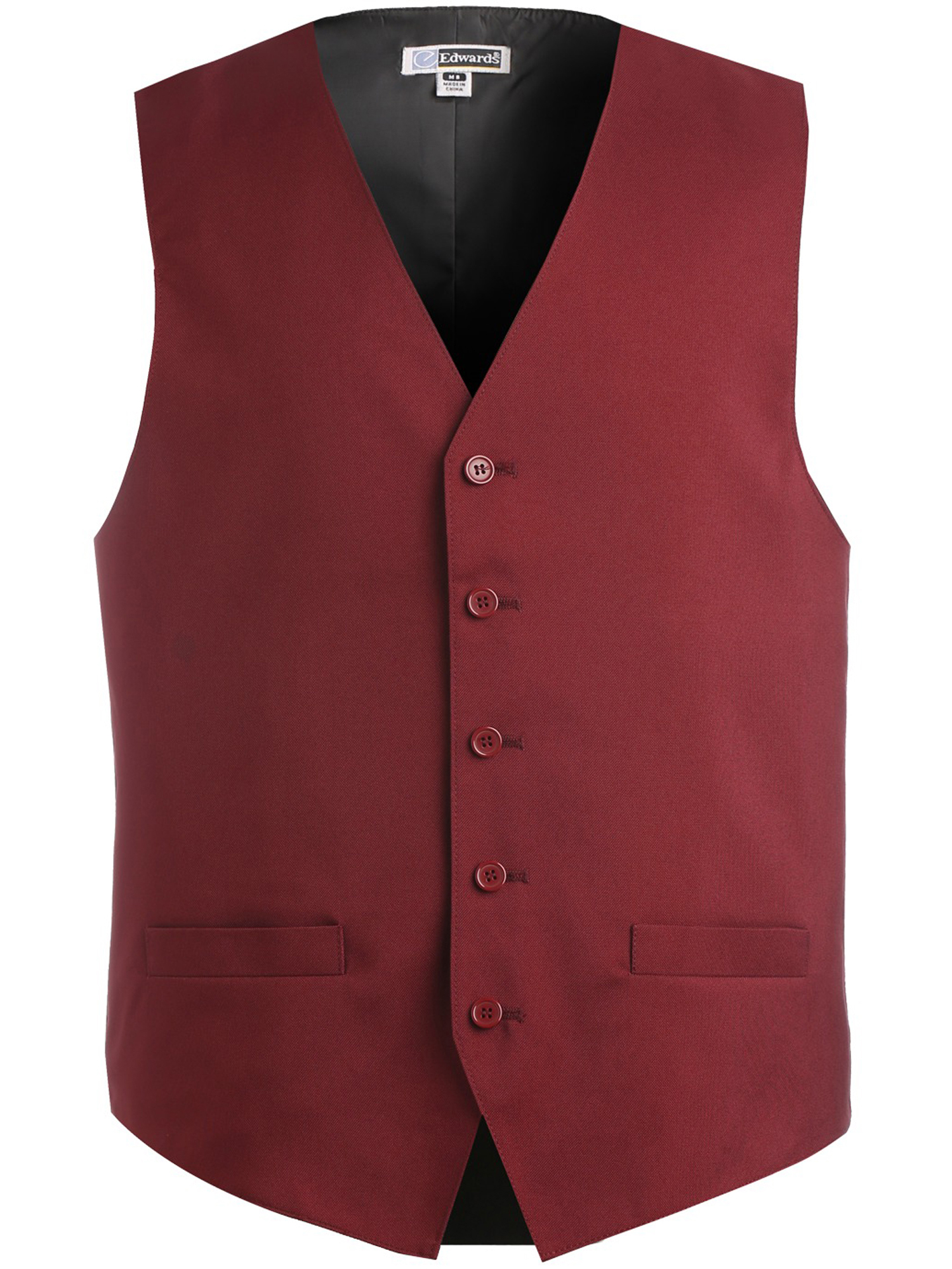 Ed Garments Men's Textured Weave Fully Lined Economy Vest, BURGUNDY, X-Large-Tall