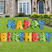 Happy Birthday Letters Yard Card 13pcs Includes Stakes