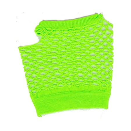 Adults  Neon Green Fishnet Fingerless 80s Rock Costume Half Gloves - Accessories From The 80s