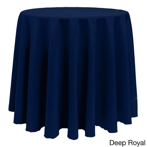 Solid Color 90-inches Round Vibrant Tablecloth DEEP ROYAL