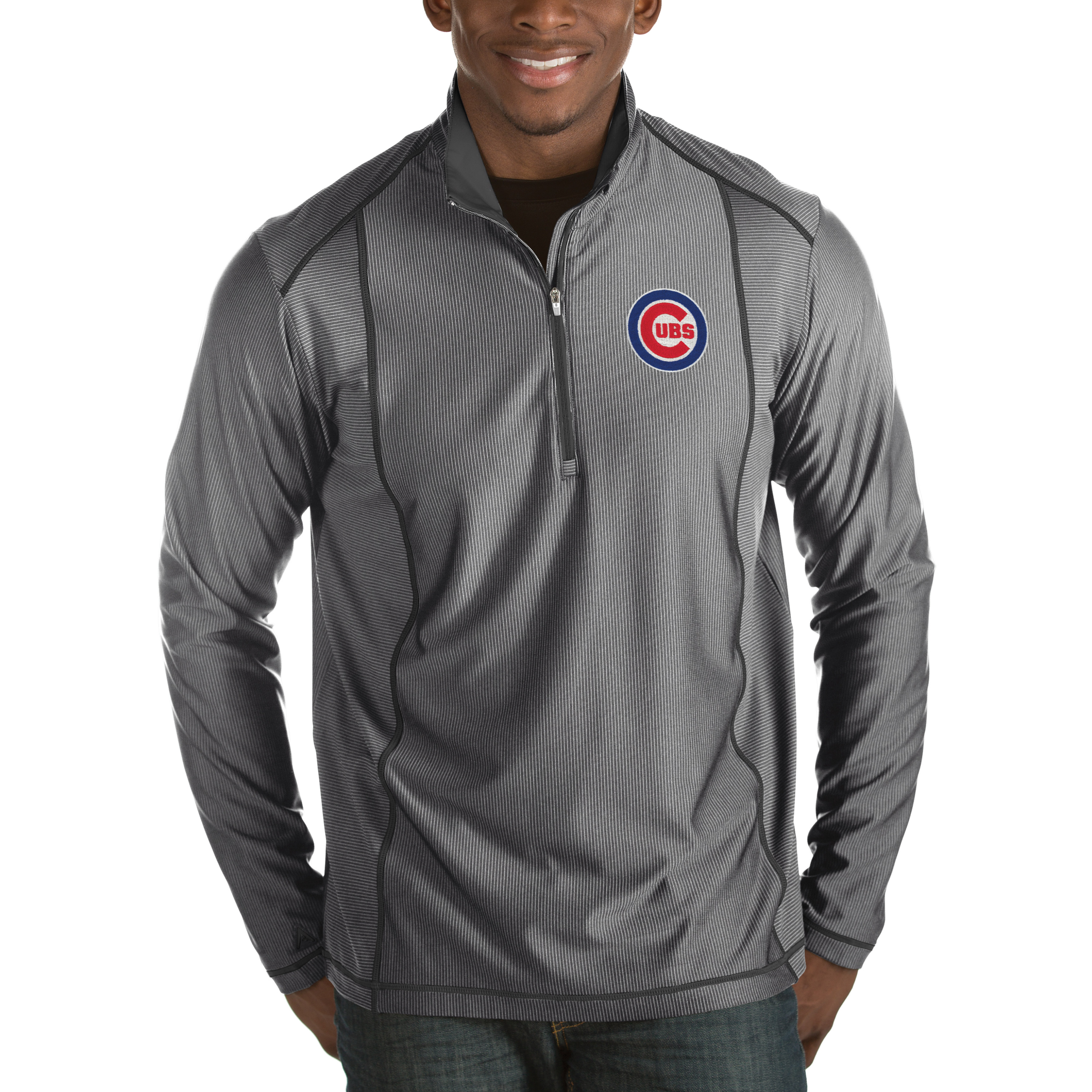 Chicago Cubs Antigua Tempo Half-Zip Pullover Jacket - Heathered Charcoal